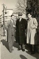 Србо Огњевић (у средини) са друговима из Енергетике ВБС Станимиром Којадиновићем и Стеваном Туцовићем