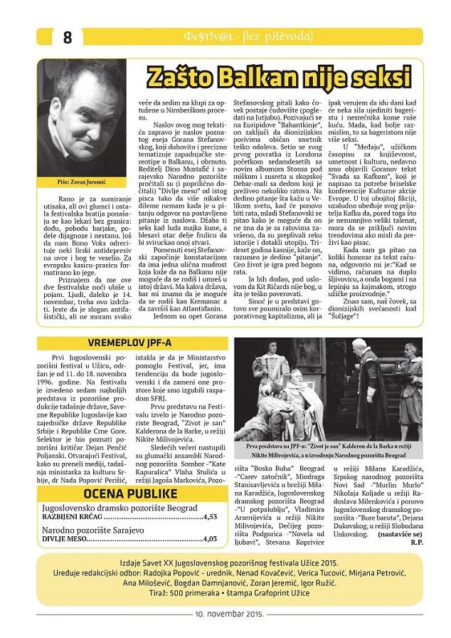 jugoslovenski pozorišni festival užice no pasaran bez prevoda