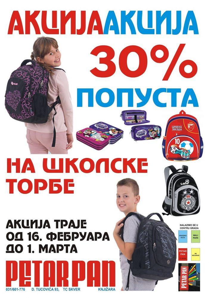 30% popusta na školske torbe u Petru Panu!